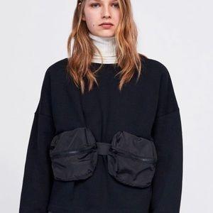 Zara Fanny Pack Belt Bag Sweatshirt Pullover S